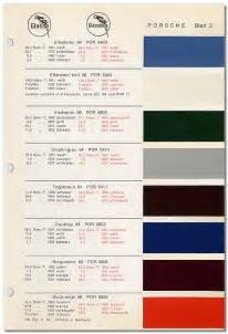 pca 912 amp 912e register porsche standard paint colors