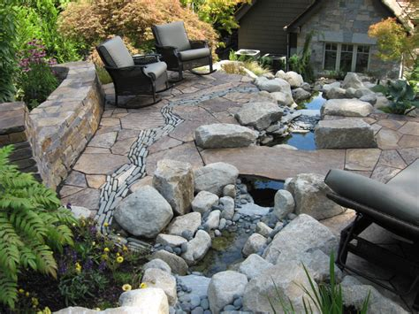 before and after patio with river and curved