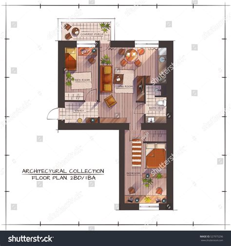 architectural color floor plan furniture top stock vector architectural color floor plan one bedroom stock vector