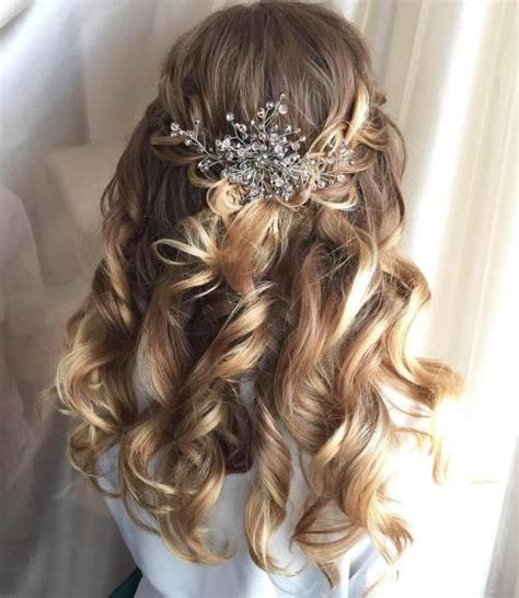 wedding hair half up half curls half up half wedding hairstyles 50 stylish ideas