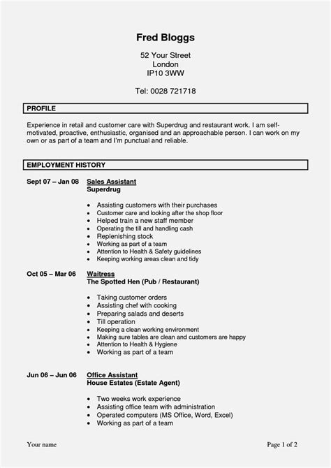 for school leavers cv exles resume template cover