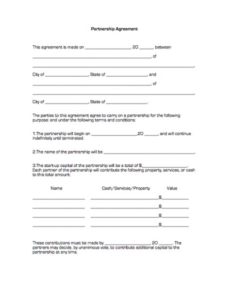 template for business partnership agreement partnership agreement free printable documents