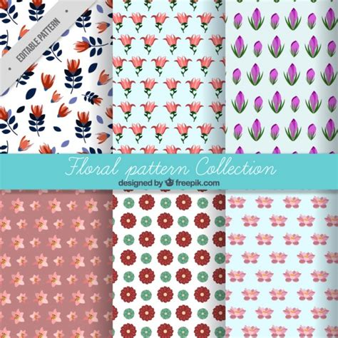 svg pattern collection variety of flowers pattern collection vector free download