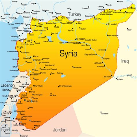 syria middle east map syria map showing attractions accommodation