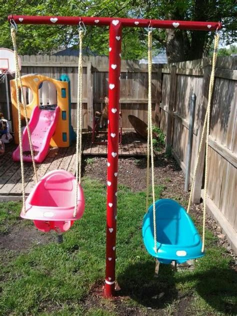 Clotheslines For Small Backyards by Swing Set Made Out Of Clothesline Poles Outdoor