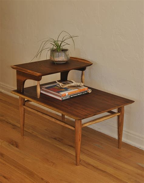 2 tier side table mid century two tier wood side table trevi