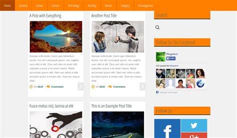 grid mag orange blogger template blogger templates gallery