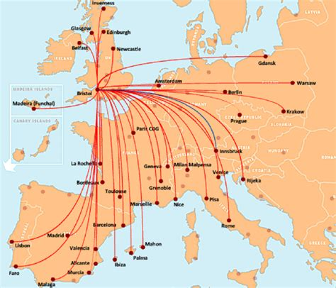 easyjet route map map easy jet flights