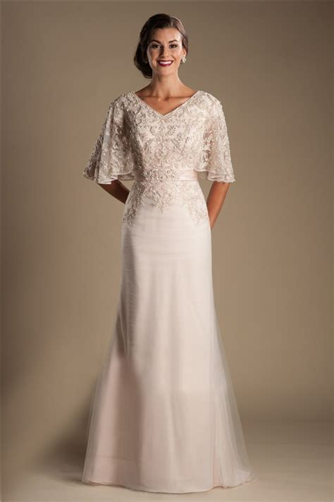modest lace wedding dresses with sleeves modest v neck flutter sleeve chagne tulle lace beaded