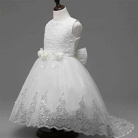 Gaun Tutu Flower Lace Princess Anak Dress Pesta Wedding Bayi Balita 4t white dress promotion shop for promotional 4t white