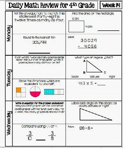 3rd grade daily math review worksheets daily math review sheets 4th grade grade math worksheets common