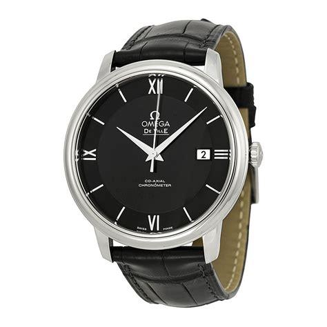 omega prestige automatic black black leather