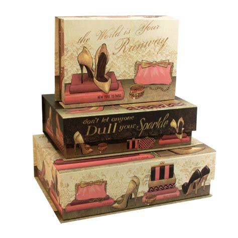 Decorative Storage Boxes by Set Of 3 Large Decorative Storage Boxes Pretty In Pink