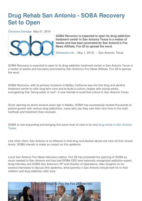 Detox And Mental Centers In San Antonio Tx by Rehab San Antonio Soba Recovery Set To Open By