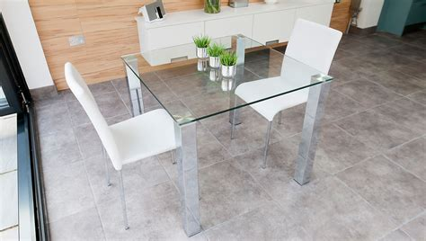 square glass dining table chrome legs 4 seater table uk