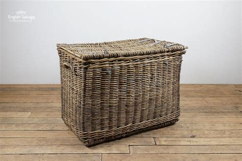 large vintage wicker laundry basket