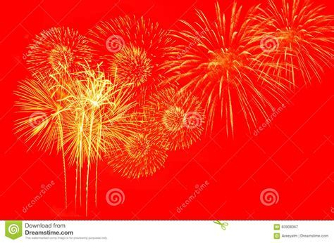 Fireworks Celebration On Red Background. Stock Image