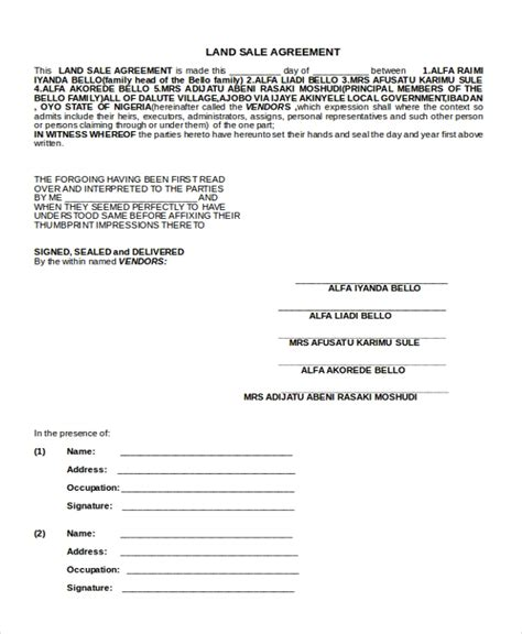 Sle Sales Agreement Form 10 Free Documents In Doc Pdf Land Sale Agreement Template