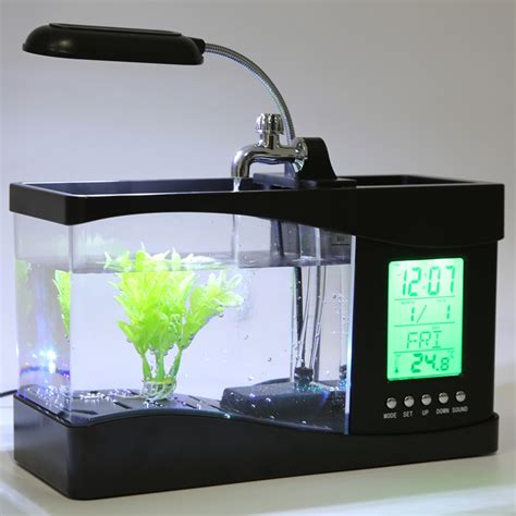 Usb Desktop Aquarium Mini Fish Tank Akuarium Mini With Lcd Display popular mini fish tank buy cheap mini fish tank lots from