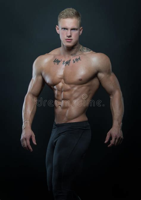 tattoo fitness model muscled model with ink stock photo image 49218570