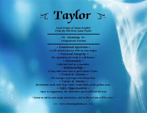 behind meaning taylor meaning of name