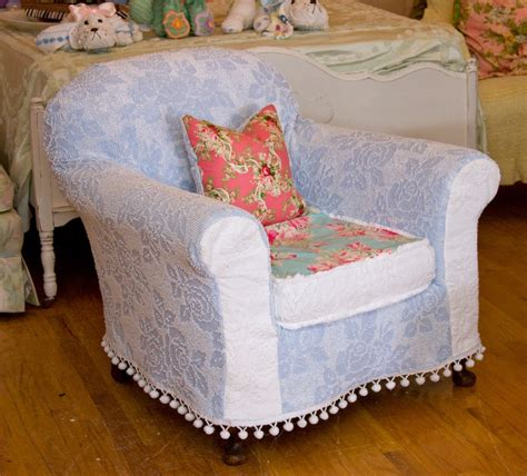 shabby chic chair chenille bedspread slipcover roses antique