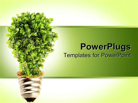 Powerpoint Template Plant Growing From Light Bulb Base With Green Background 10405 Plant Powerpoint Templates Free