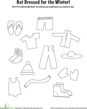 winter clothes worksheet education