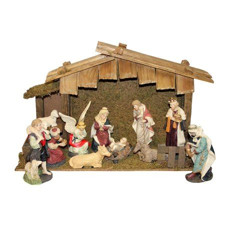 christmas stable walmart 12 painted religious nativity figurine and stable set walmart
