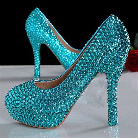 15 Most Beautiful Evening Shoes by Bridesmaid Shoes Beautiful Blue Crystals Pumps 4 Quot High