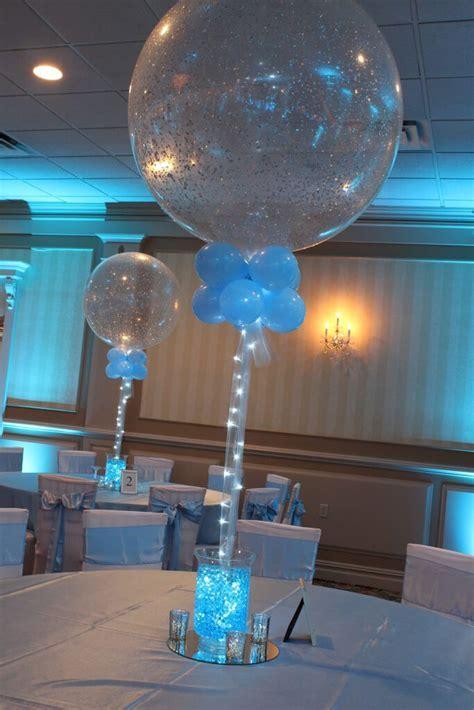 Aqua Gems & Sparkle Balloon Centerpiece Vases with Aqua