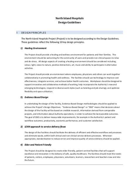 design criteria des design guidelines north island hospitals