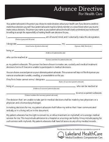 advance directive form advance directive patient advocate form pennock health