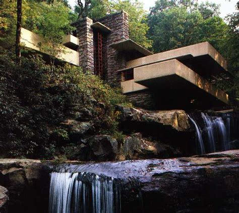 water falling fallingwater house over waterfall frank lloyd wright