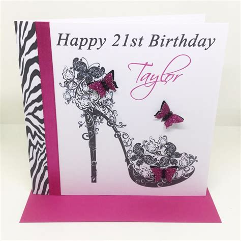 Handmade 21st Birthday Cards - personalised handmade zebra print shoe birthday card 16th