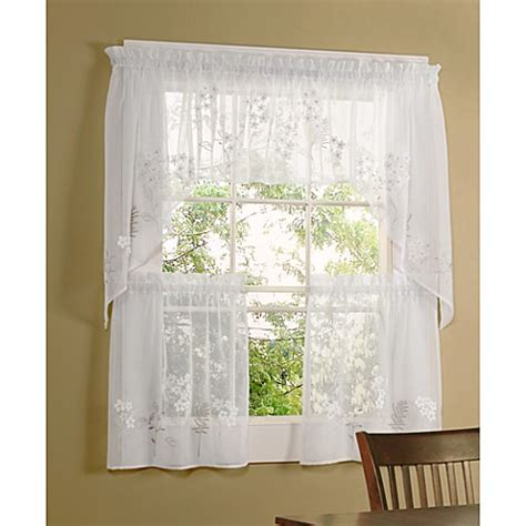 Swag Curtains For Kitchen Windows Commonwealth Home Fashions Hydrangea Kitchen Window Swag Valance Www Bedbathandbeyond Ca
