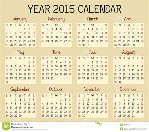 Calendrier De L Annee Calendrier De L 233 E 2015 Illustration De Vecteur Image