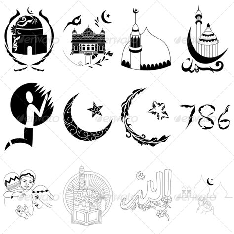 muslim symbol tattoo islamic religious signs vector designs pack graphicriver