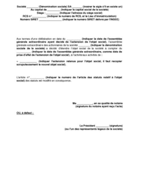 Exemple D Objet De Lettre Demande Avis D Extension De L Objet Social D Une Sa Au Journal D