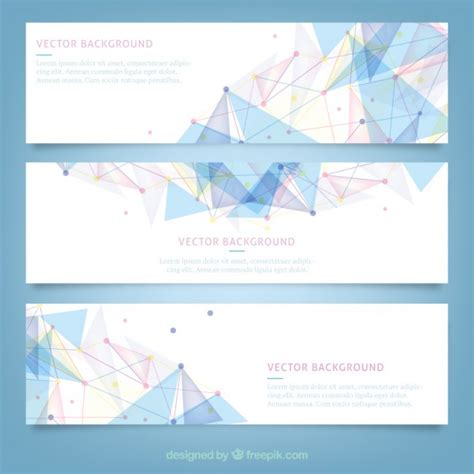 free banner layout design banners with polygonal design vector free download