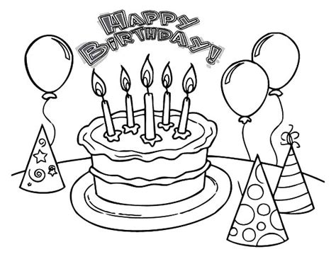 happy birthday balloons flying coloring pages happy