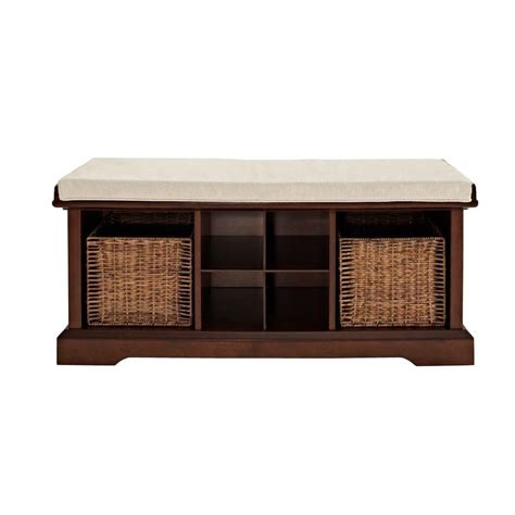 bench depot home decorators collection chambers 42 in w solid rectangular storage shoe bench in