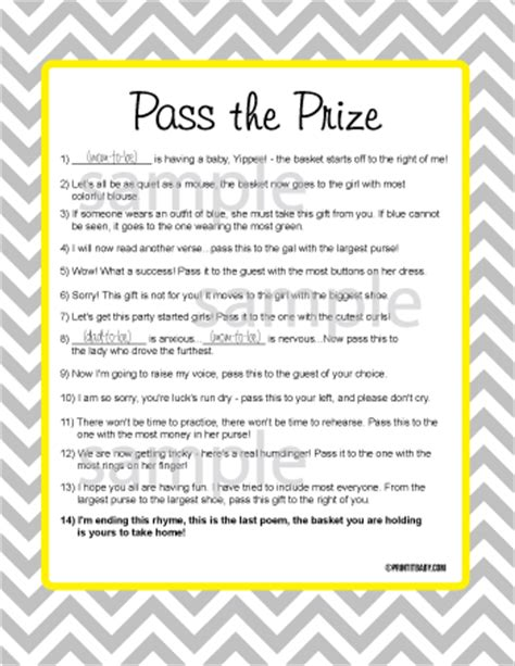 Baby Shower Pass The Gift by Pass The Prize Pass The Prize Baby Shower
