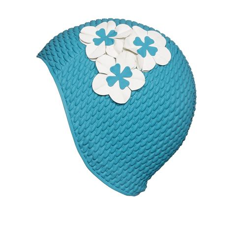 cuffie da bagno cuffia da bagno turchese con fiori bianchi