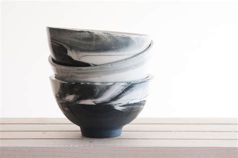 modern bowl marble black and white hand made ceramic bowl with glossy