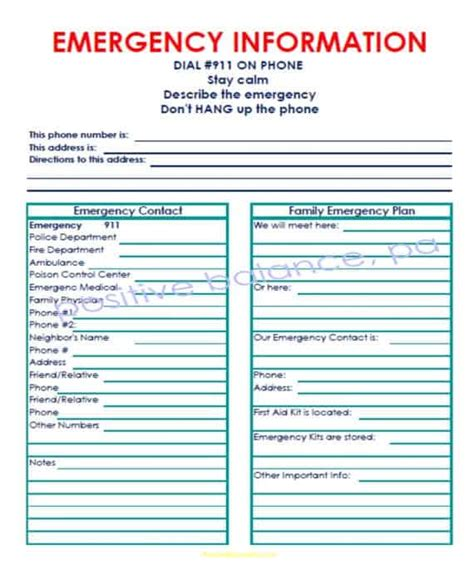emergency contact list templates word templates