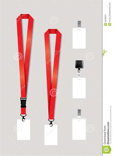 lanyard template set of lanyard retractor end badge stock vector image