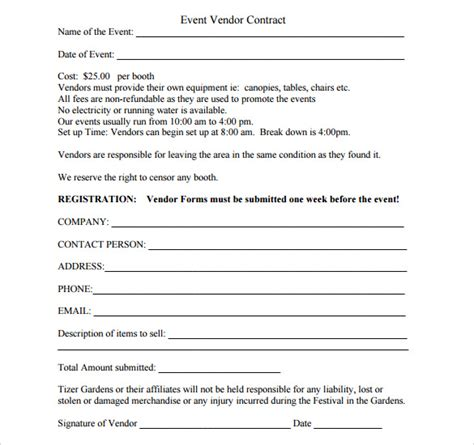 Venue Letter Sle Sle Vendor Contract Template 10 Free Sles Exles Format