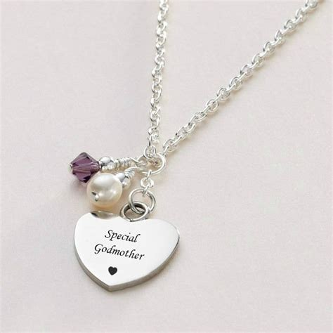 engraved necklace with birthstone and pearl