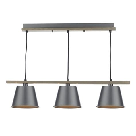 Dar Lighting Arken 3 Light Wooden Ceiling Pendant With Wooden Ceiling Light Shades